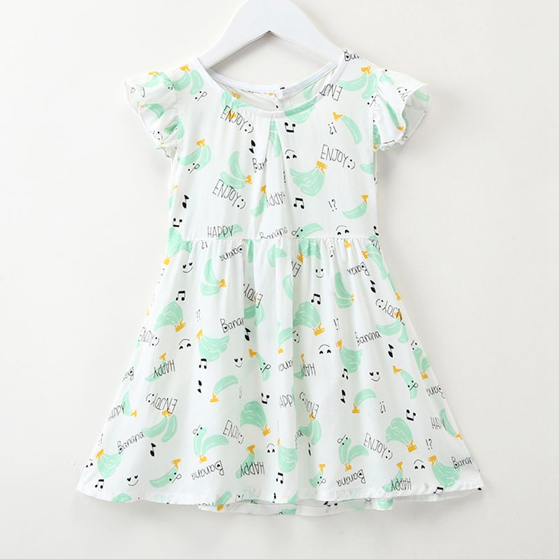 Lastest Style Gilrs Cotton White Short Sleeve Letter And Slime Pattern Fresh Pretty Princess DRESS