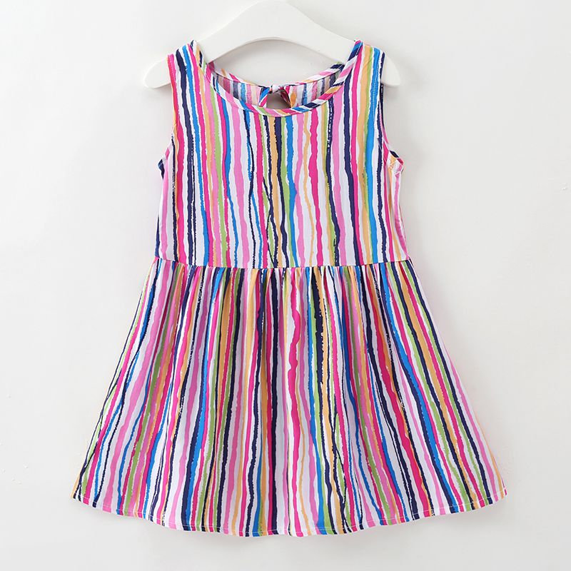New Arrived Girls Cotton Colorful Sleeveless Botton Speacial Printed Lovely Stripe DRESS