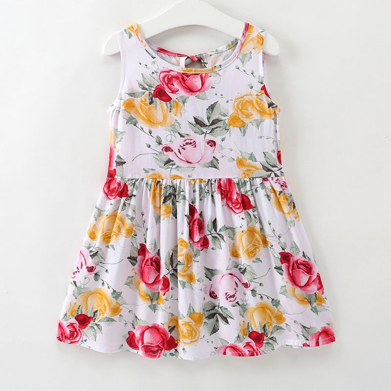 New Arrived Pretty Girls White Cotton Sleeveless Rose Floral Printed Wholesale DRESS