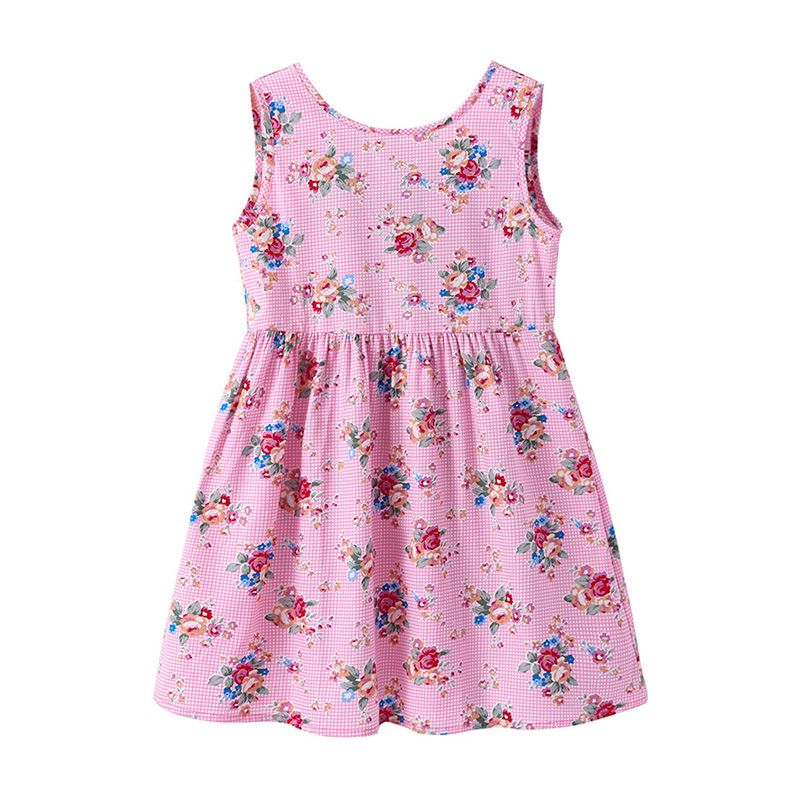 Wholesale Lastest Style Girls Soft Cotton Pink Sleeveless Little Floral Printed Sweet DRESS