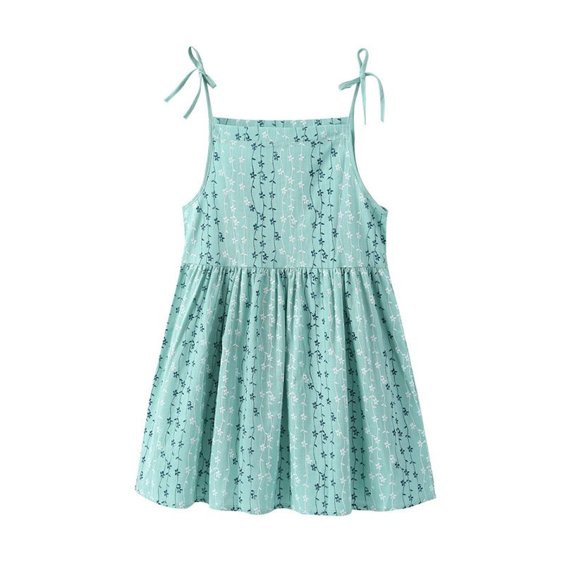 Wholesale Lastest Style Girls Cotton Pink Blue Green Slip Sweet Lovely Floral Print DRESS