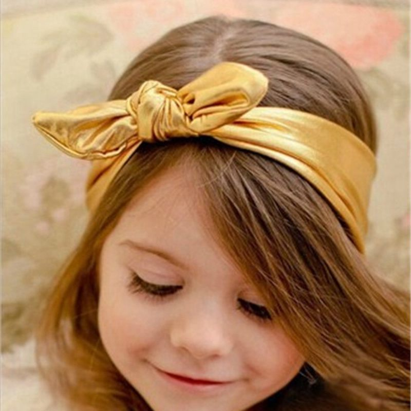 Supplying Baby Girls HAIR ACCESSORIES Solid Color Gilding Bowknot Bunny Ear Headbands