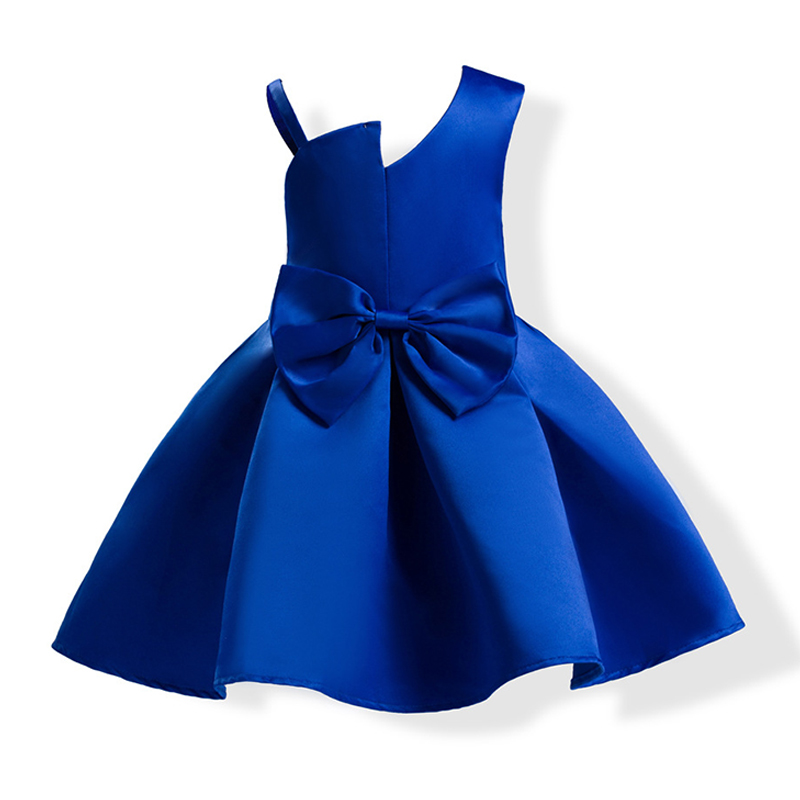 WEDDING New Girl Dress Princess Design Graceful Hot Sale Bowknot Solid Color Cotton Baby Girl Weddin