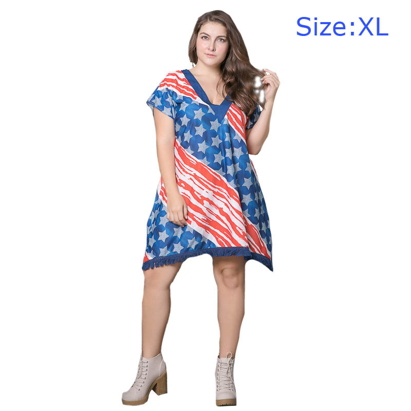 Wholesale American FLAG Design Hot Selling Stars Printed Large Size Fat  Women Dress