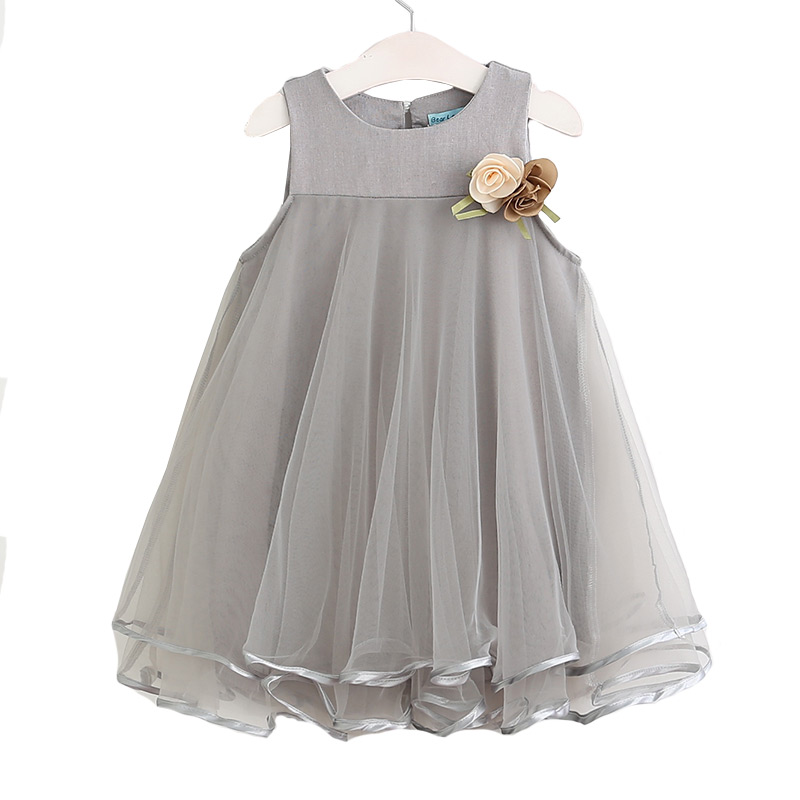Kids New Arrival Sleeveless Gauze Cotton Princess DRESS With Flowers