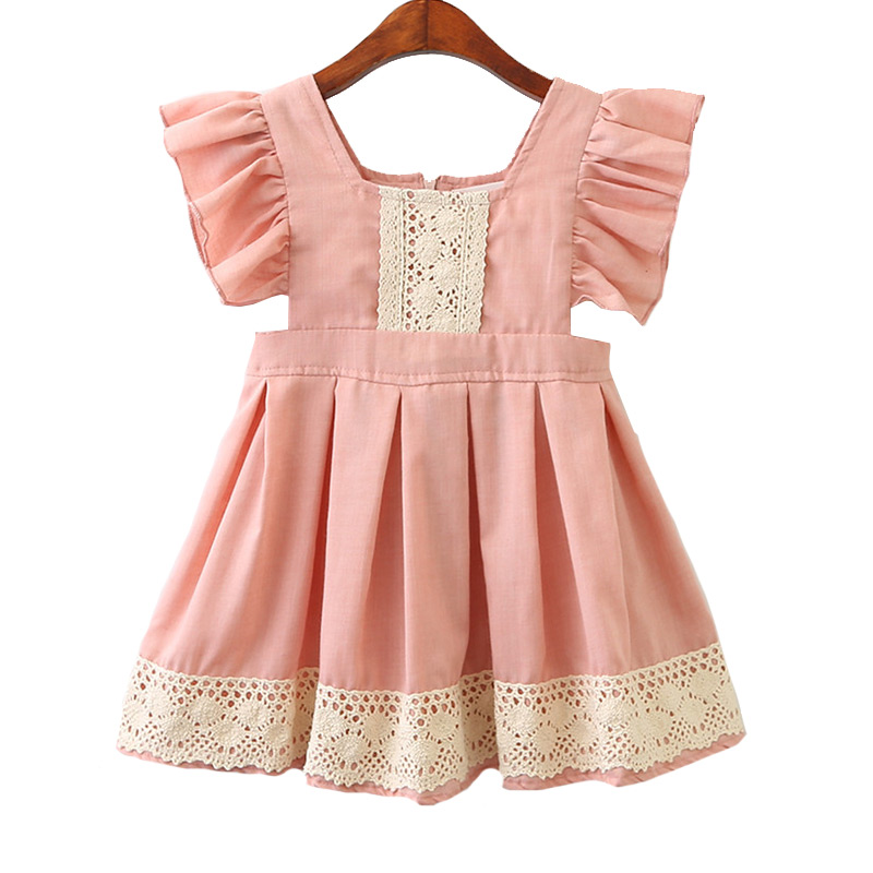 Kids New Arrival Top Grade Pink Cute Fashion Style Lace Short DRESS
