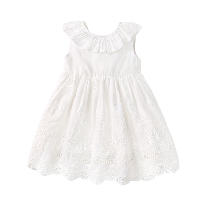 Kids New Arrival White Sleeveless Embroidered Cute Fashion Style Princess DRESS