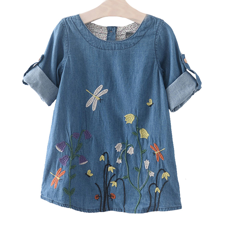 Kids New Arrival Fashion Light Blue Dragonfly Flowers Embroidered Denim  DRESS