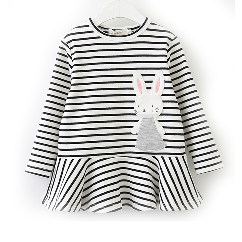 Kids New Fashion Stripes Style Long Sleeves Rabbit Printed  Princess DRESS
