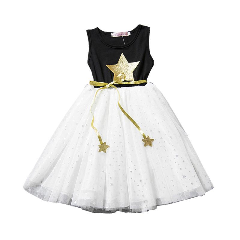 Kids Trendy Cute Sleeveless Five-pointed Stars Multilayer Gauze Princess DRESS