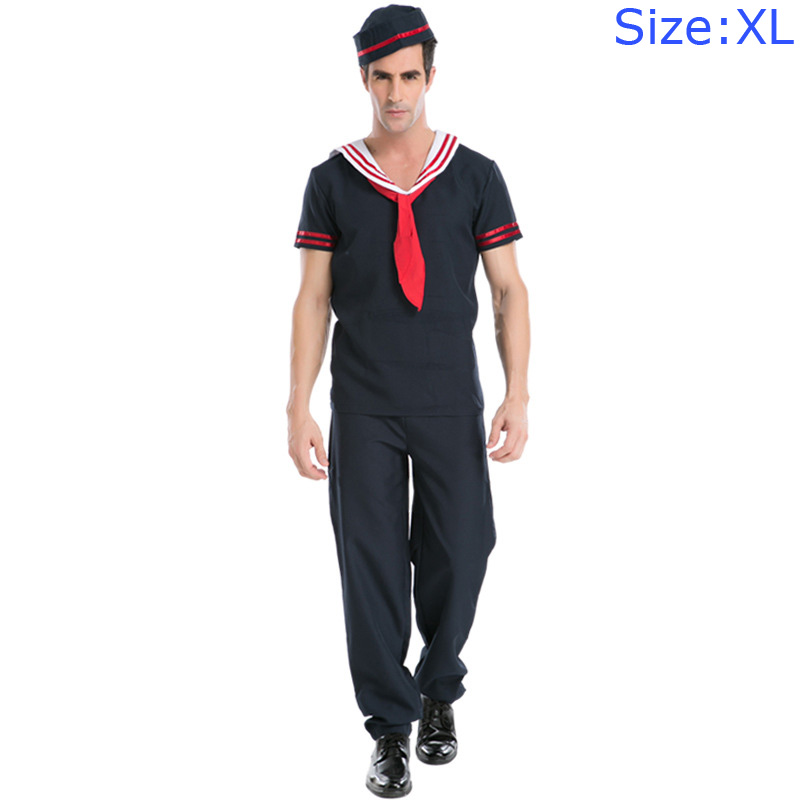 Adult Men Party Cosplay Navy Blue Marine UNIFORM Halloween Costume With Hat
