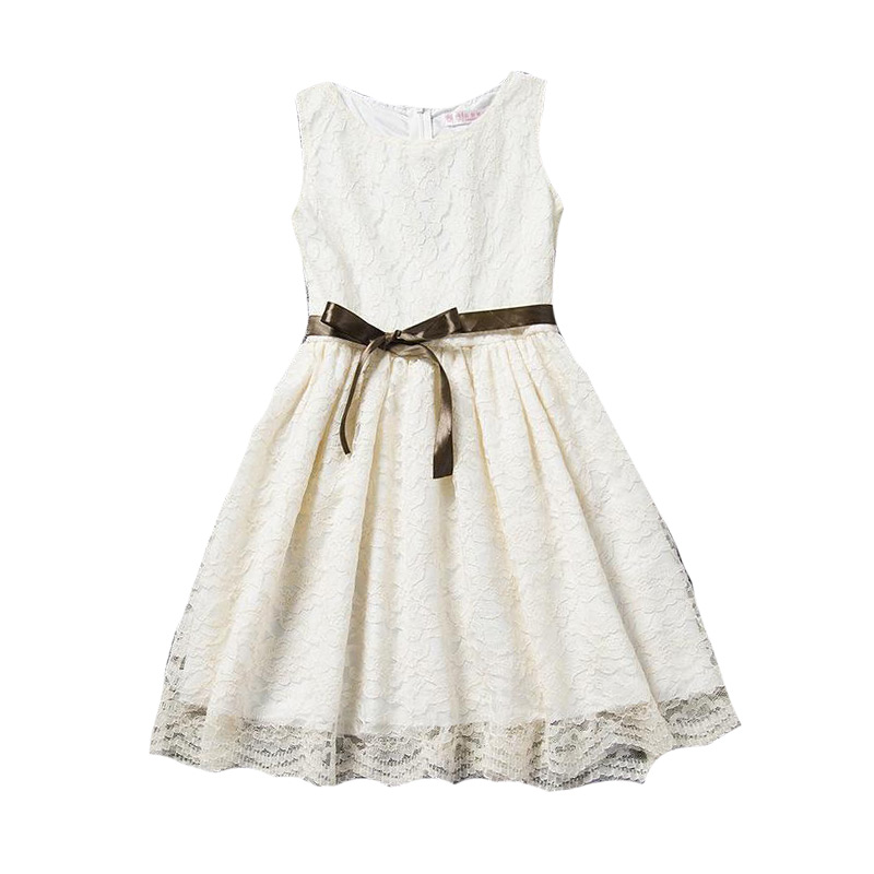 Kids New Arrival Trendy Cute Sleeveless Bowknot Lace Hollowed Out Princess DRESS
