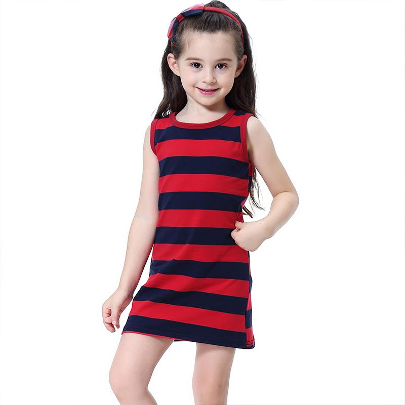 Kids New Arrival Cute Sleeveless Wrap Stripes Style Classical Princess DRESS