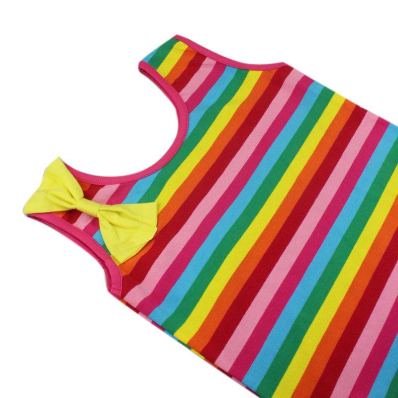Kids New Arrival O-neck Trendy Lovely Sleeveless Bowknot Stripes DRESS
