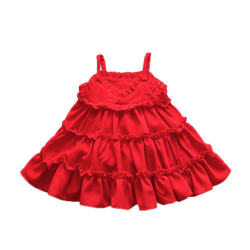 Kids New Arrival Solid Color Trendy Lovely Sleeveless Straps Cake DRESS
