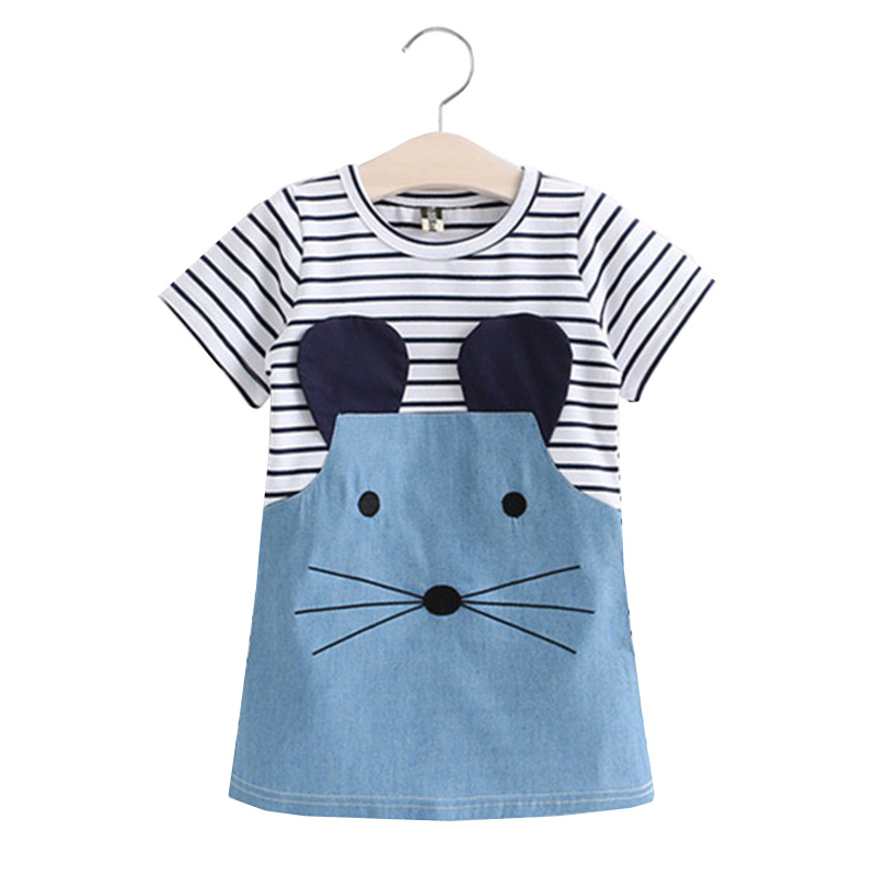 Children Hot Sale Cartoon Little Mouse Stripes Short Sleeves Lovely  Princess DRESS
