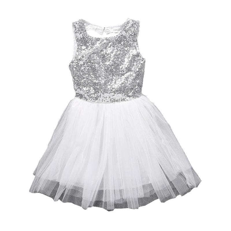 Children Hot Sale Cute Backless Sleeveless Sequin Gauze Princess DRESS