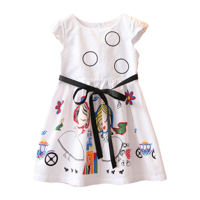 Children New Arrival Lovely Circles Digital Printed Lace Up Sleeveless Princess DRESS
