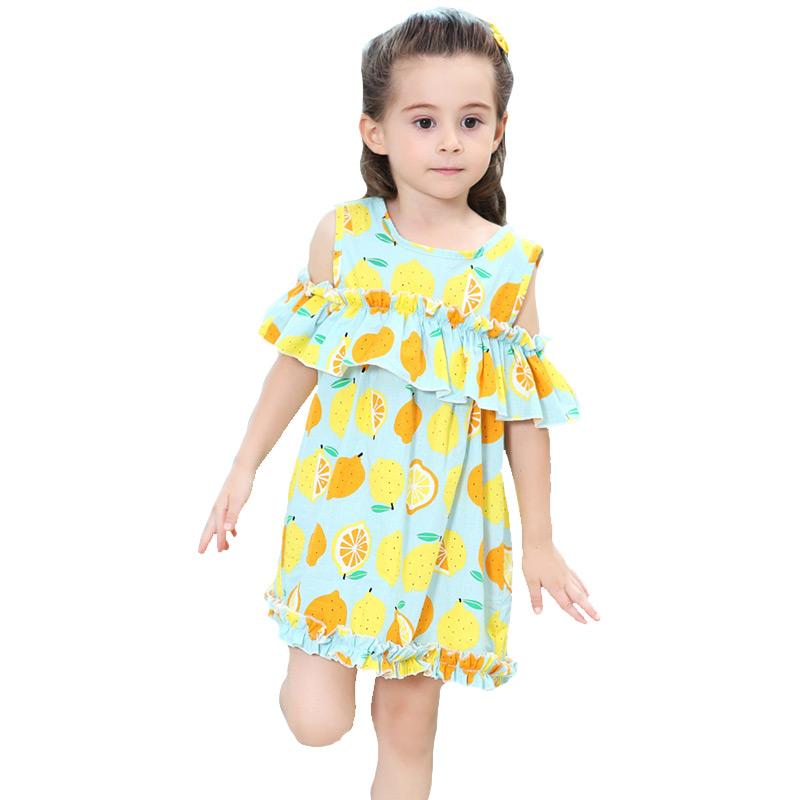 Kids Trendy Cute Lemon Printed Off Shoulder Flouncing Sleeves Princess DRESS