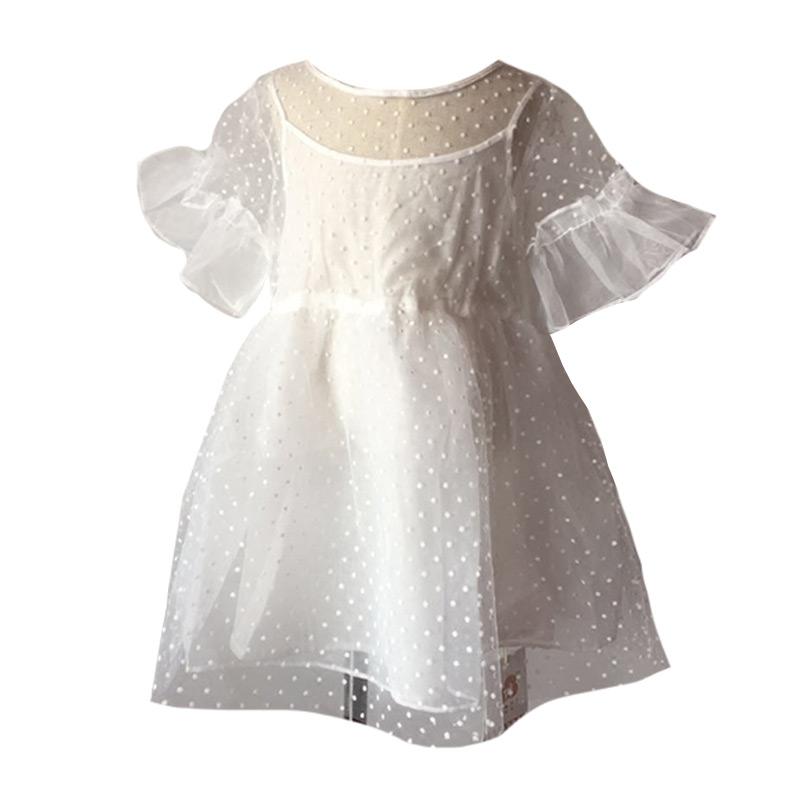 Kids High Quality Solid Color Lovely Short Sleeves Gauze Princess Tutu DRESS