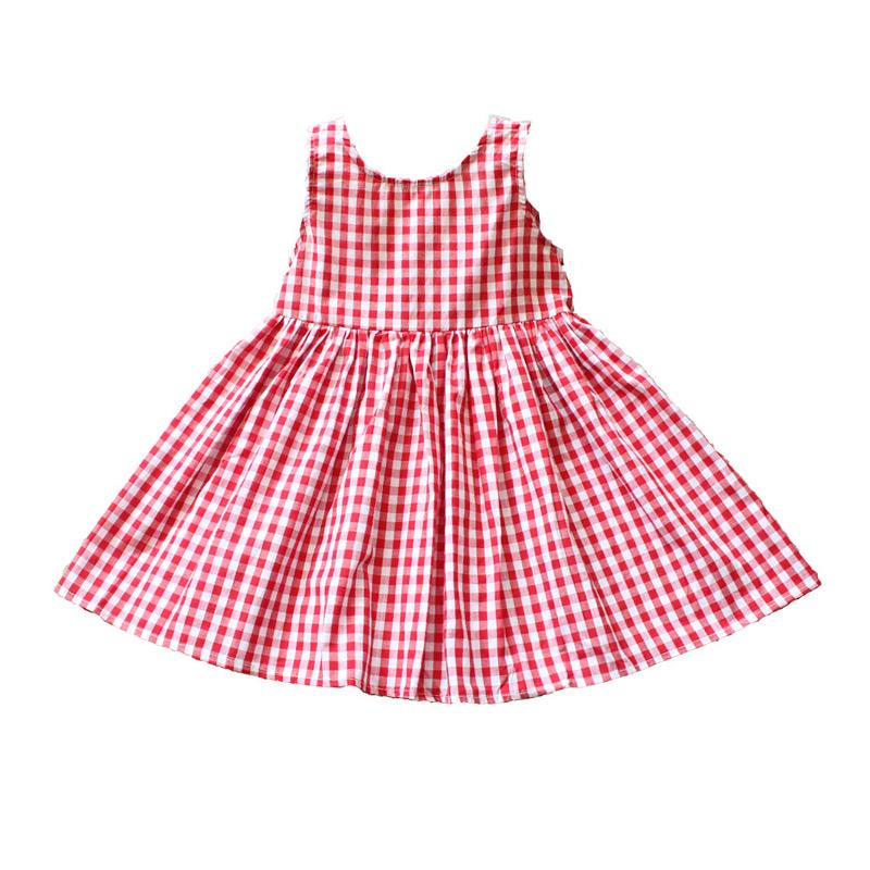 Kids New Arrival Pretty Lovely Plaid Sleeveless Backless Cotton Princess DRESS