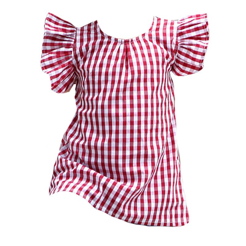 Kids New Arrival Pretty Cute Plaid Short Sleeves Cotton Princess DRESS