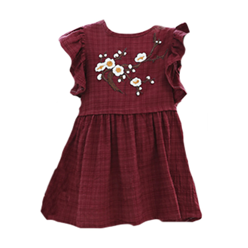 Kids Top Grade Lovely Flowers Embroidered Flouncing Sleeves Casual Princess DRESS