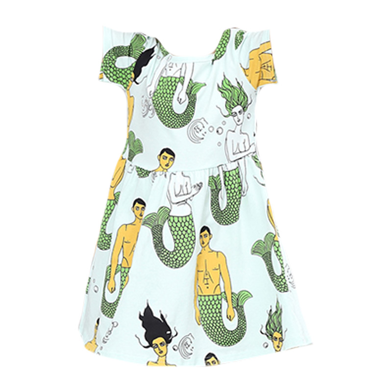 Kids New Arrival Cute O-Neck Mermaid Printed Short Sleeves Princess DRESS