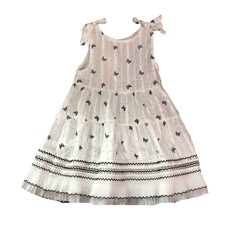 Kids Hot Sale Cute Butterfly Printed Bowknot Sleeveless Princess DRESS With Dots