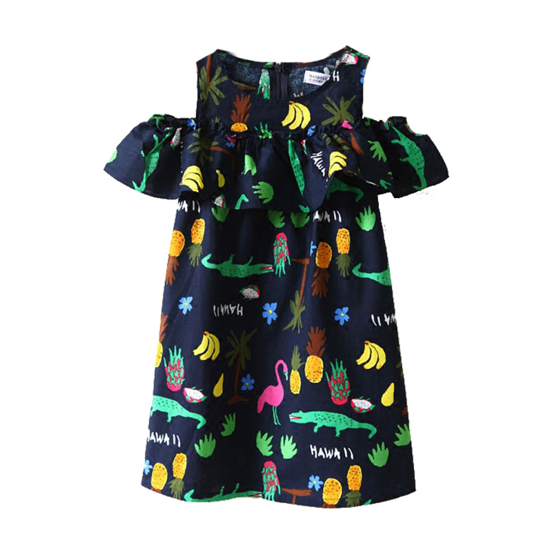 Kids New Arrival Pretty Cute Off Shoulder Cartoon Printed Princess DRESS