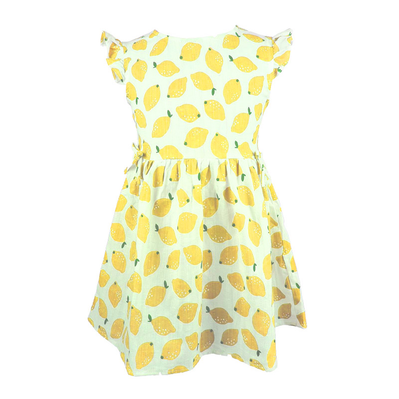 Kids Hot Sale Pretty Lovely Sleeveless Lemon Printed Bowknot Princess DRESS