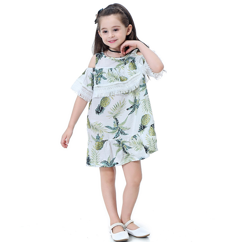 Kids Off Shoulder Short Sleeves Pineapple And Leaf Printed Princess DRESS