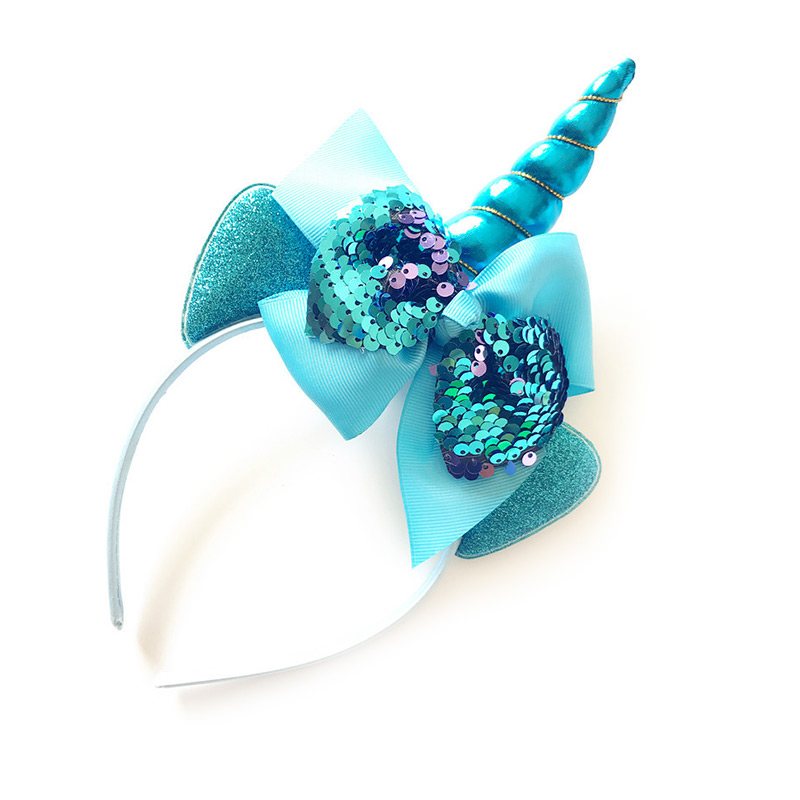 c0dfb3b8808a0 Supplying Children Hair Beauty Matching Color Unicorn Sequin Bowknot Lovely  HEADBANDS