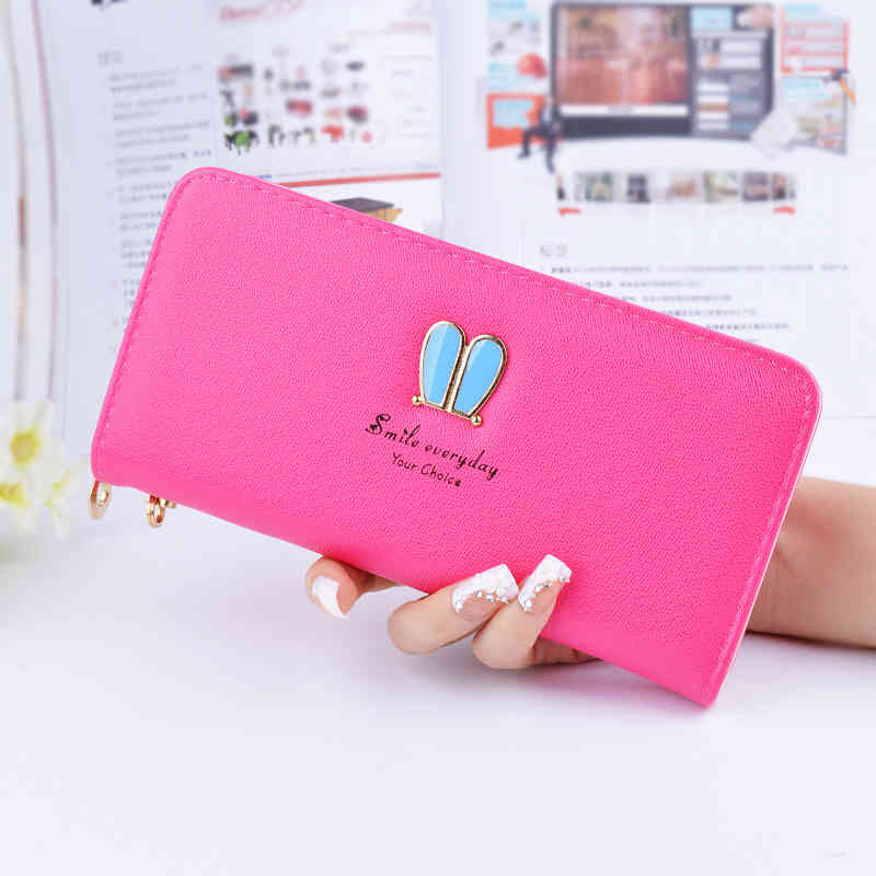 NEW Fashion Zipper High Capacity Student Rabbit Ears Logo Lady Long Wallet