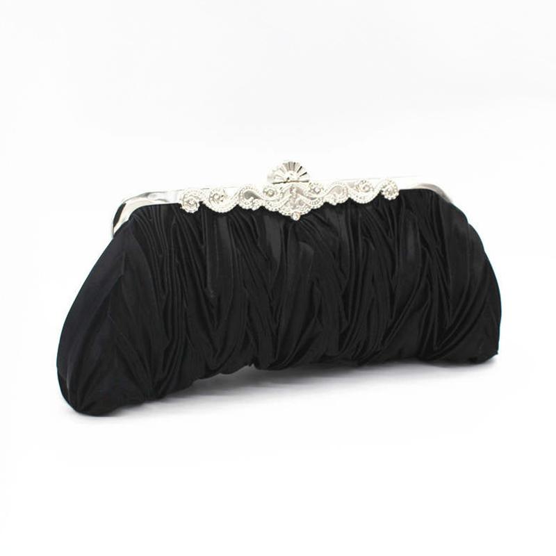 Romantic style Wrinkled Party Wedding Satin Lady SHOULDER BAG