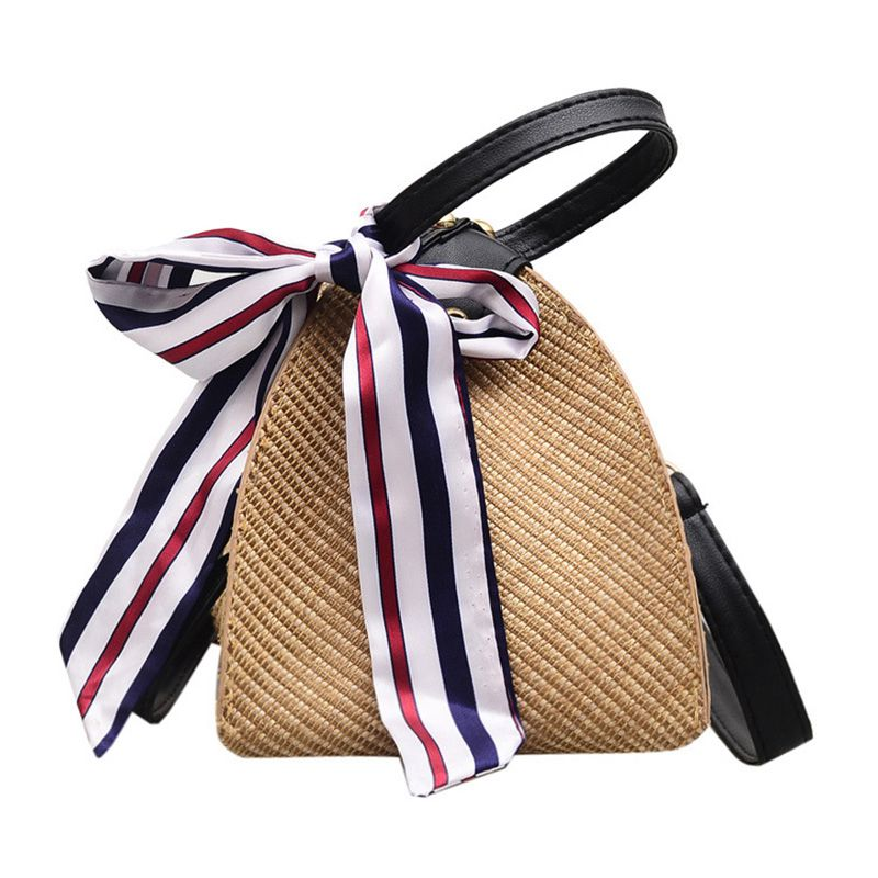 New Summer Hot Style Freshing Handmade Straw Unique Woven Triangle Shape HANDBAG