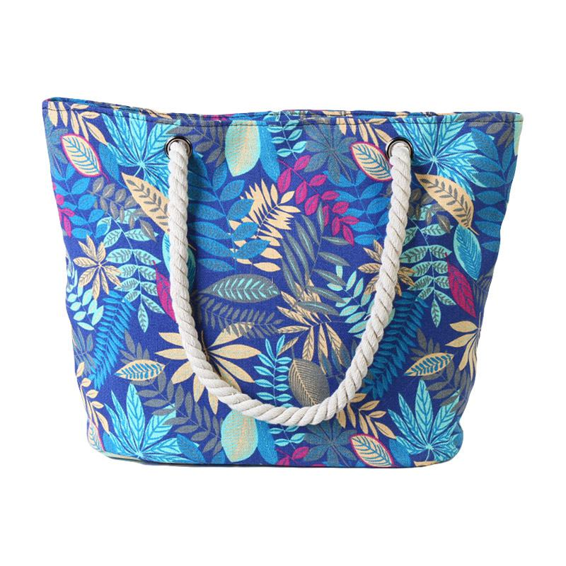 Charming Fashion Muticolour Leaves Large Capacity Hemp Rope Shoulder TOTE BAGs