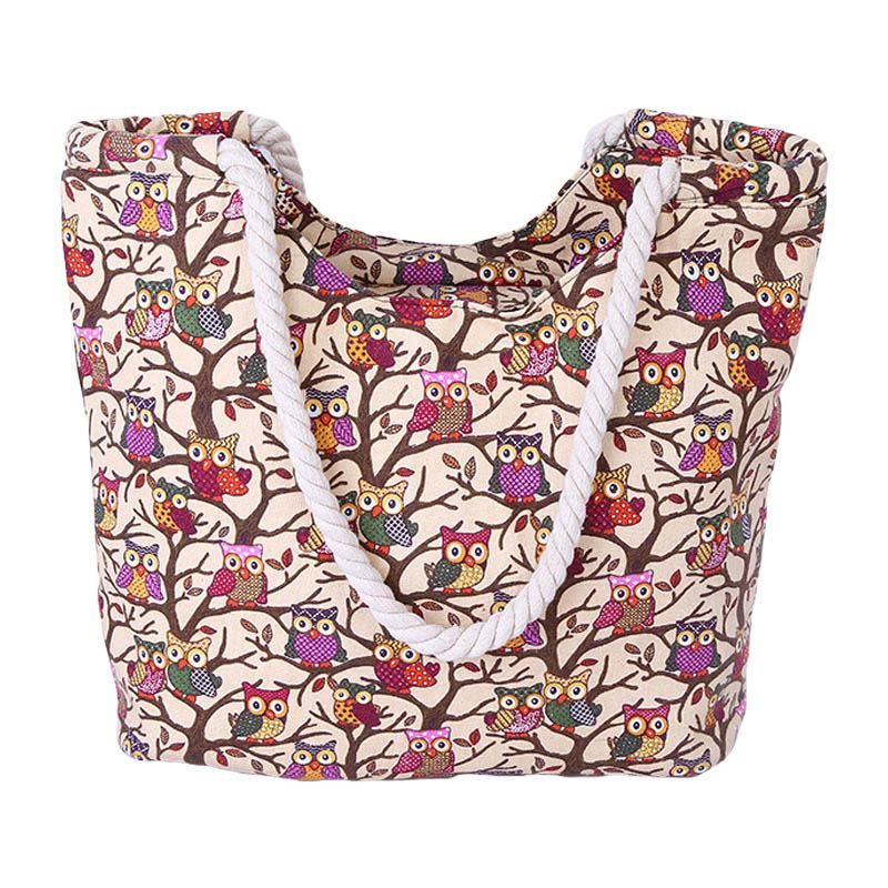 Cute Little Cartoon Different Owls Pattern Shopping Travelling TOTE BAGs With Hemp Rope Handle