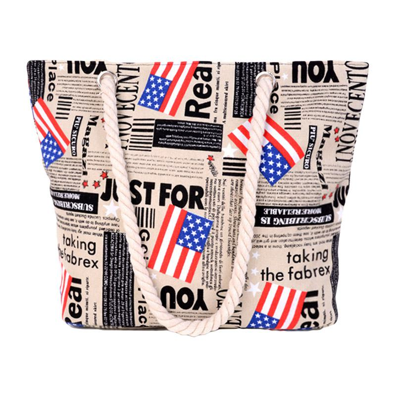 ''Casual ''''Just For You'''' Flags Printed Hemp Rope Handle Large Capacity Canvas TOTE BAGs''