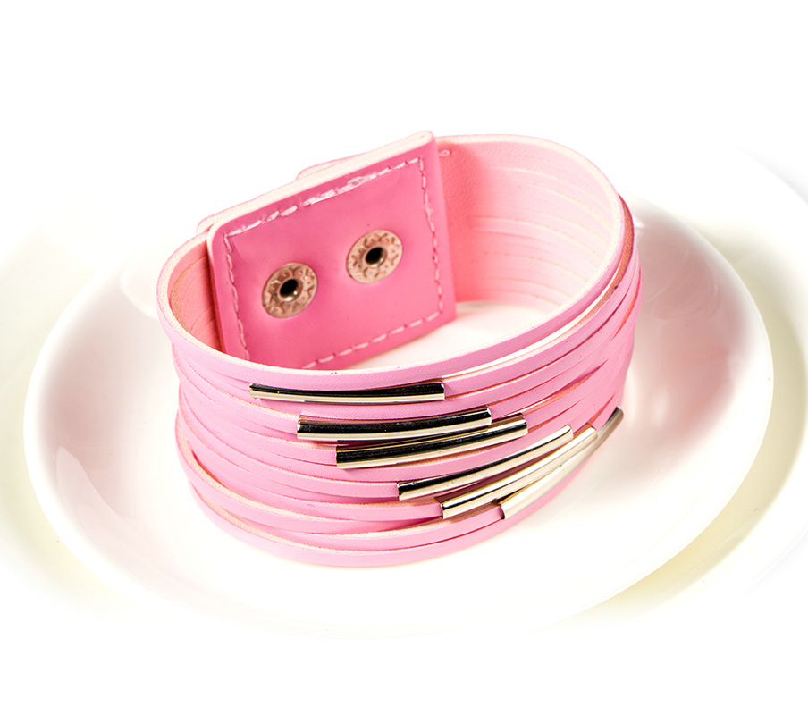 Women Punk Style Colored Multilayer PU Cord Wide BANGLE