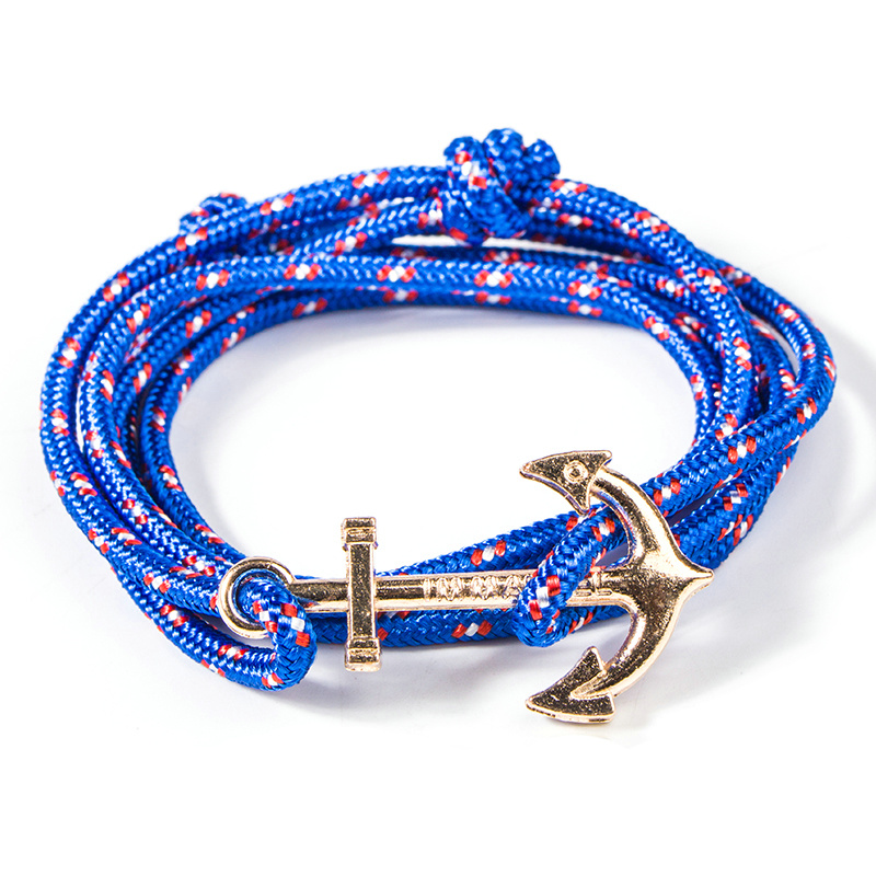 Unisex Style Hot Sale Women JEWELRY Double Color Cord Anchor Wraped Bracelet