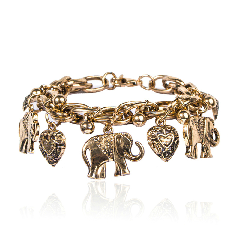 Vintage Style Alloy Elephants Charm BRACELET