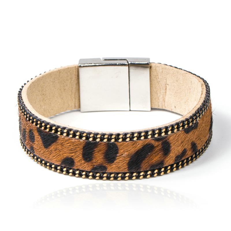 Unisex Style PU LEATHER Leopard Design Bracelet