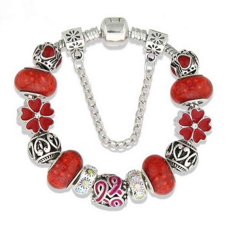 Women Luxury Glass Beads Beaded Alloy Flower DIY BRACELET