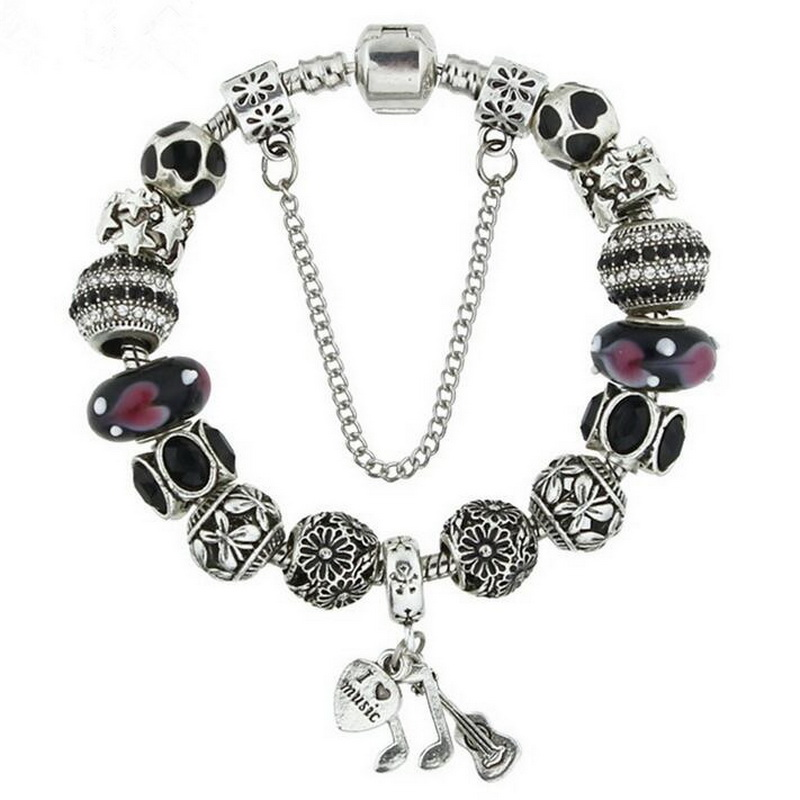 Classic Glass Beads DIY Hollow Alloy Ball Note Charm BRACELET