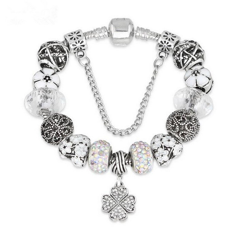 Fashion Enameled Alloy Beads DIY Clover Charm BRACELET