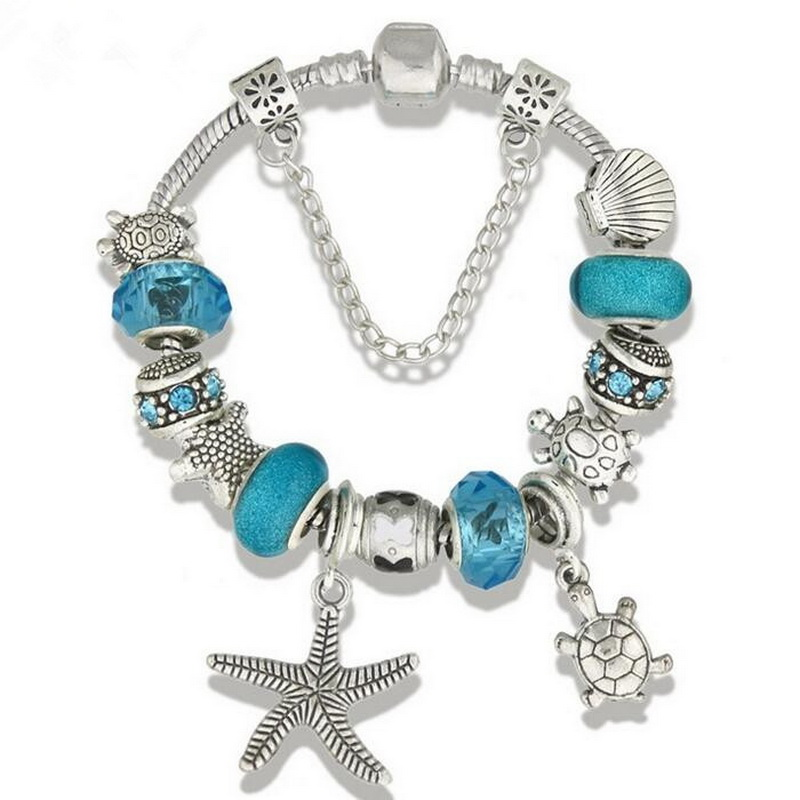 Cool Summer Vacation JEWELRY Alloy Star-fish Tortoise Charm Bracelet