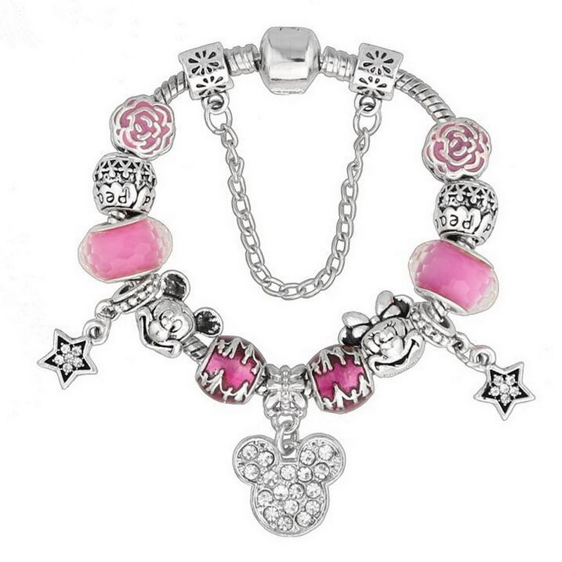 Creative Design Women DIY Alloy GLASS BEADS Charm Bracelet