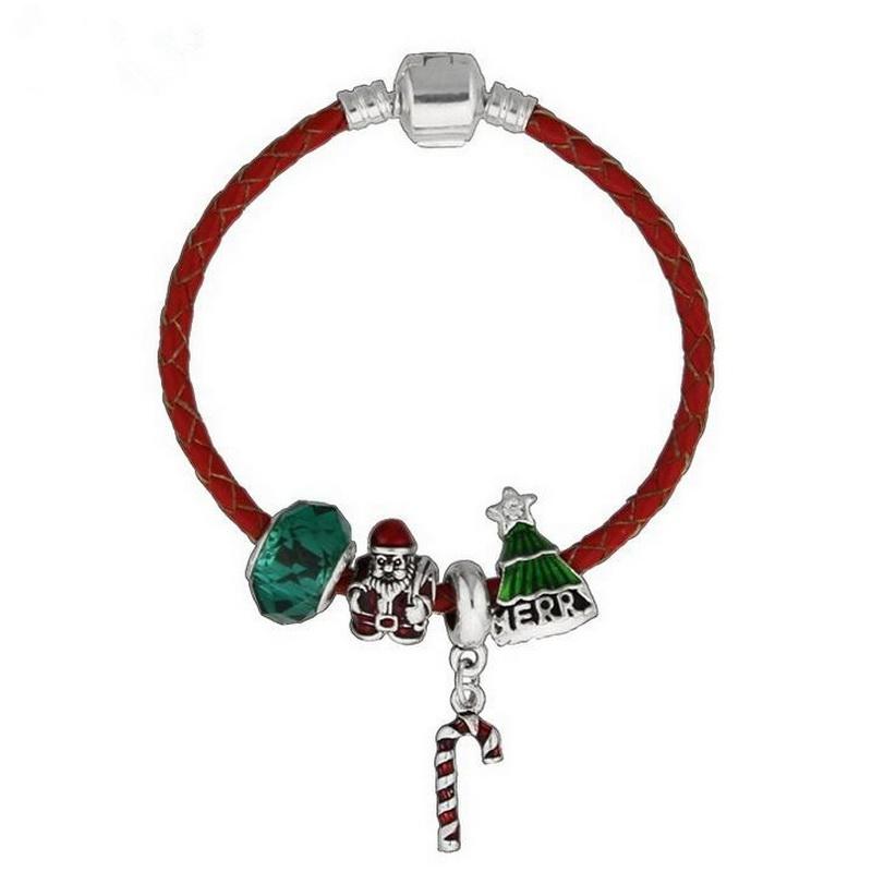 Simple Christmas Gifts Design PU Cord Glass Beads BRACELET