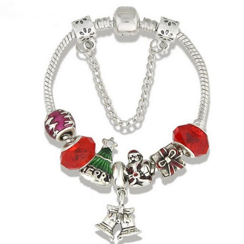 Unique Christmas Bell Red Glass Beads  Charm BRACELET